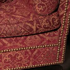 victor burgundy u0026 gold tapestry upholstered sofa with 5 matching
