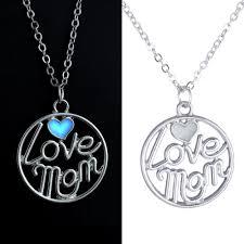 glow in the dark l luminous glow in the dark l love mom circle round pendants necklace