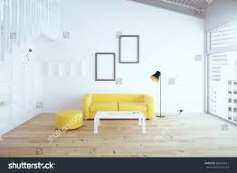 Interior Design Yellow Walls Living Room Living Room Interior Design Yellow Sofa Stock Illustration
