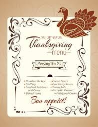 thanksgiving thanksgiving dinner menu recipes template free