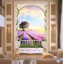 3d wall murals idecoroom 3d arch lavender field tree sunrise entrance wall mural wallpaper decal art prints 004