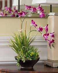 orchid arrangements lifelike dendrobium orchids succulents accent planter at