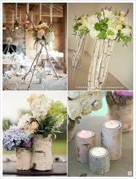 bougeoir mariage decoration de table mariage branchage bouleau vase bougeoir