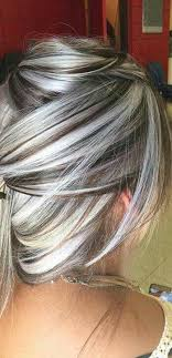 silver hair with blonde lowlights heavy platinum highlights with rich chocolate brown lowlights no
