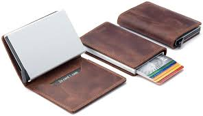 secrid slim wallet genuine leather vintage brown rfid safe card