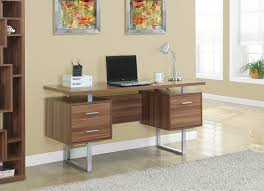 Long Computer Desk by Amazon Com Monarch Specialties Walnut Hollow Core Silver Metal