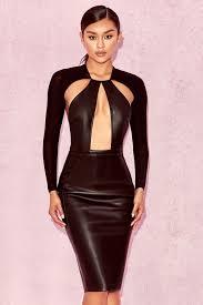 cut out dress clothing bodycon dresses kiasu black vegan leather cut out dress
