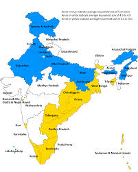 North India Map by Census 2011 India Average Household Size Itnext In