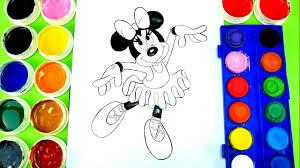 minnie mouse coloring minnie ballet dress watercolor paint