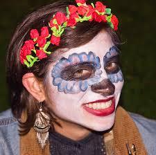 day of the dead headband sugar skull makeup paper flowers headband