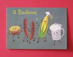 vintage backyard bbq barbeque barbecue party invitations dancing