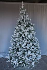 flocked christmas trees hinged branches u0026 metal stand white green