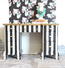 My Gold Desk Black U0026 White U0026 Gold Painted Striped Desk Refunk My Junk