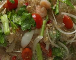 thai glass noodles salad with ground chicken and shrimp ยำ
