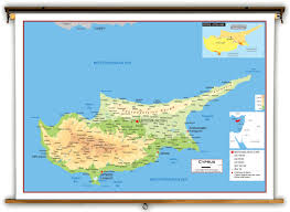 map of cyprus cyprus physical educational wall map from academia maps