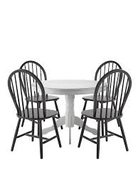 White Dining Table And Chairs Kentucky White Dining Table With 4 Black Chairs Very Co Uk
