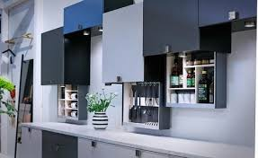 electric blue kitchen cabinets linak electric kitchen cupboards pull column db8p