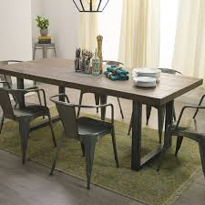 plank dining room table wood and metal edgar dining table for room metal dining room