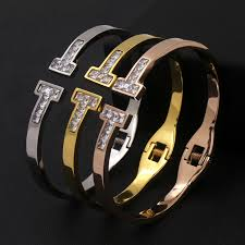 titanium steel love bracelet images Stainless steel beautiful shining double t letter gold color jpg