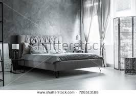dark grey bedroom dark grey bedroom comfortable kingsize bed stock photo 728513188