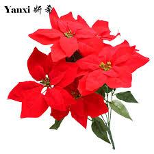 2pcs artificial poinsettia flowers bouquet tree ornaments