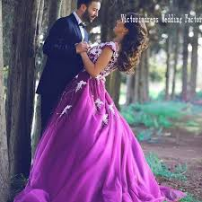 purple wedding dress aliexpress buy casamento charming scoop closed back saudi
