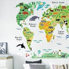 online buy wholesale world map wallpaper from china world map colorful animal world map wall stickers for kids rooms diy mural wallpaper animal world map decal