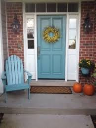 blue door on my red brick house love it front door pinterest