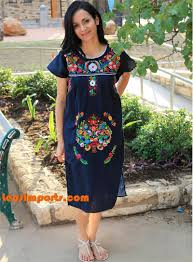 mexican floral dress from puebla