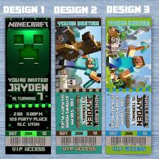 birthday invitations minecraft inspired party invites tickets