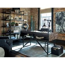 modern rustic industrial home office desk with steel base by