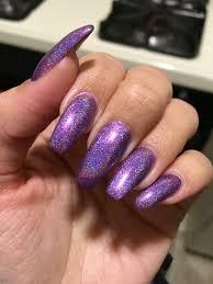 holographic nails purple nails coffin ballerina shape polish