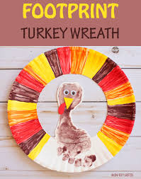 footprint turkey wreath easy thanksgiving craft for to make