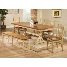 Dining Room Table Set With Bench Amazon Com Winners Only Quails Run 84 In Trestle Dining Table