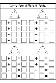 100 addition subtraction fact families addition addition