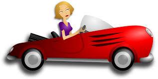 cartoon convertible car clipart blonde female driver
