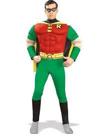 Muscle Man Halloween Costume Comic Robin Hood Deluxe Muscle Super Hero Men Costume
