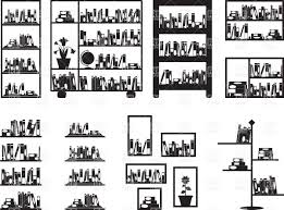 Free Bookshelves Bookshelves In Library Silhouettes Of Bookcase Vector Clipart