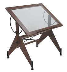 STUDIO DESIGNS Aries Glass Top Drafting Table Sonoma BrownClear - Designer drafting table