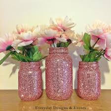 Pink And Gold Baby Shower Decorations by Rose Gold Mason Jars Rose Gold Wedding Rose Gold Glitter