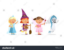 happy halloween set cute cartoon children stock vector 501772855