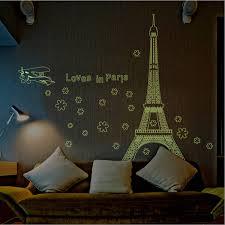 online get cheap decorative wall stickers paris aliexpress new romantic art paris eiffel tower night fluorescent wall sticker mural vinyl decal home room decor