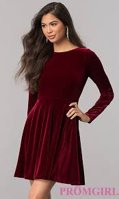 velvet dress velvet sleeve homecoming dress promgirl
