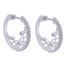 white gold hoop earrings gabriel 0 52 carat diamond filigree hoop earrings in 14k white gold