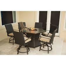 Ll Bean Fire Pit - hanover aspen creek 7 piece fire pit dining set with cushions
