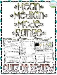 mean median mode range free quiz and answer key tpt