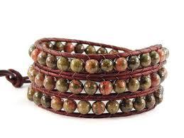 leather bracelet knots images Leather wrap bracelet unakite gemstones celtic knot beaded jewelry jpg