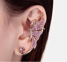 pierced earring of diamond earrings butterfly earrings ear cuff no
