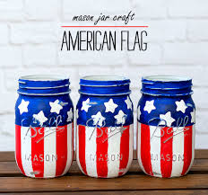 White Flag With Red Cross On Blue Square Red White Blue Mason Jars