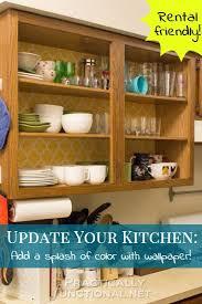 how to update rental kitchen cabinets rental friendly kitchen update wallpaper your cabinets kitchen